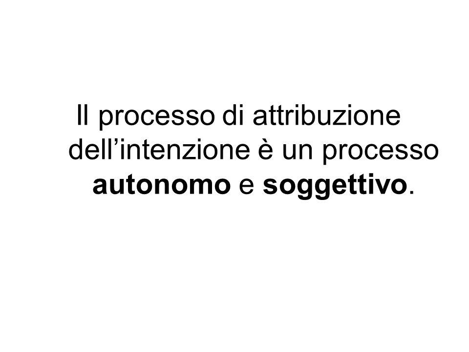 Il processo di attribuzione dell'intenzione è un processo autonomo e soggettivo.
