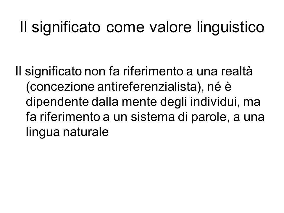 Il significato come valore linguistico