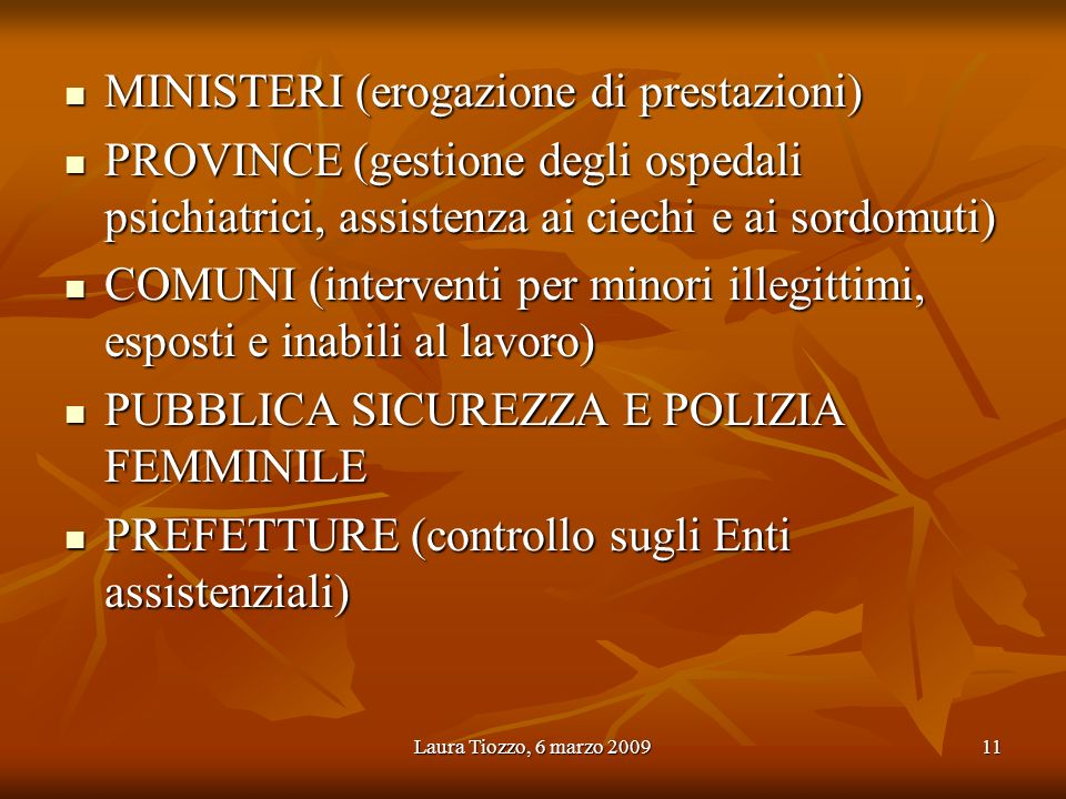 MINISTERI (erogazione di prestazioni)