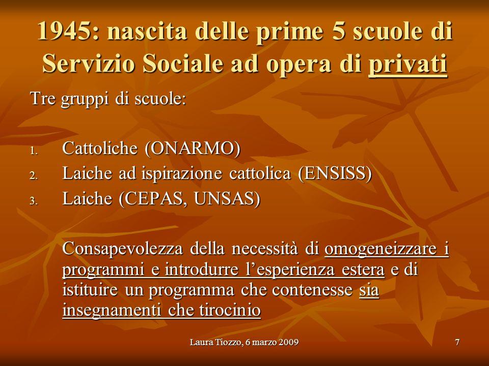 1945: nascita delle prime 5 scuole di Servizio Sociale ad opera di privati