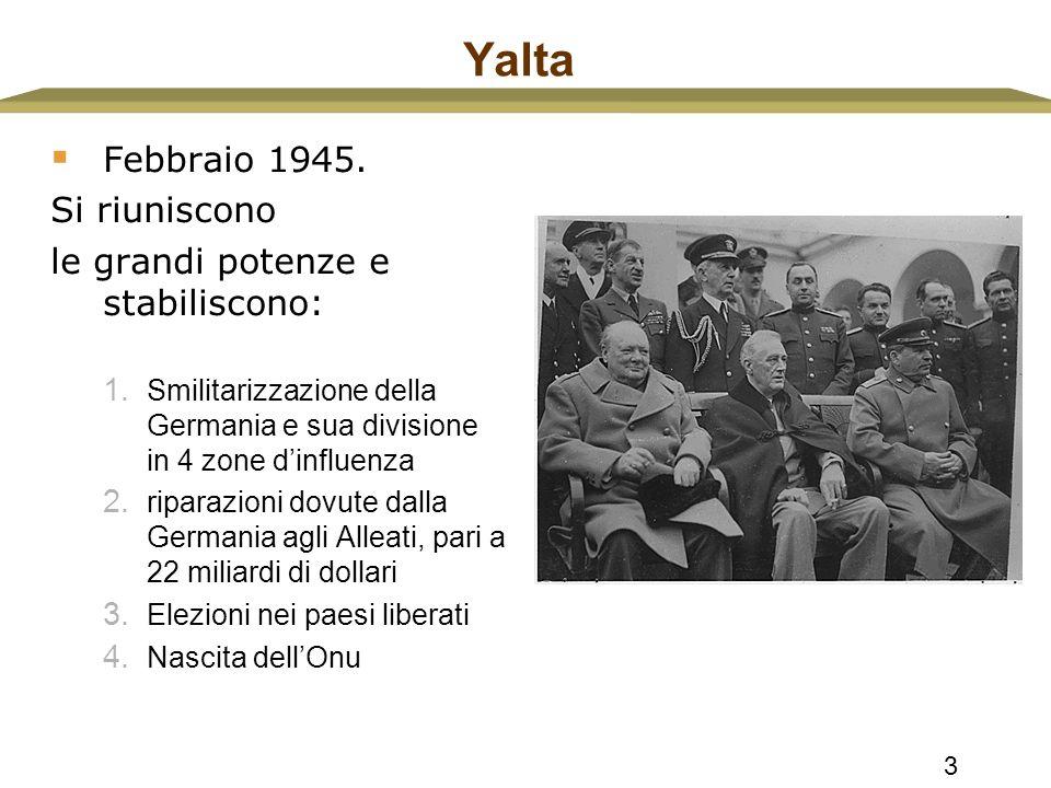 Yalta Febbraio 1945. Si riuniscono le grandi potenze e stabiliscono: