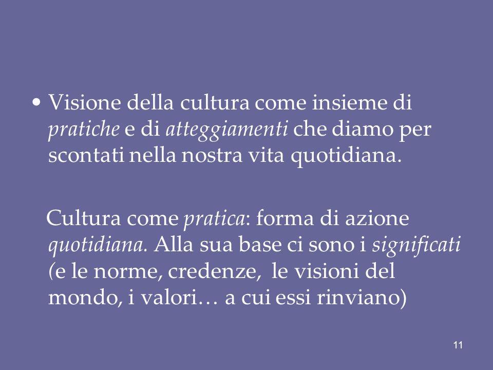 Visione della cultura come insieme di pratiche e di atteggiamenti che diamo per scontati nella nostra vita quotidiana.
