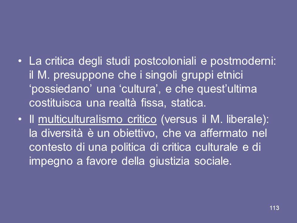 La critica degli studi postcoloniali e postmoderni: il M