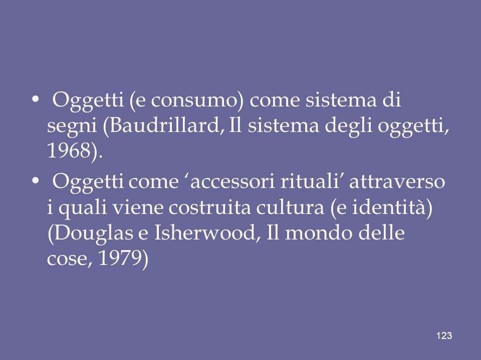 Oggetti (e consumo) come sistema di segni (Baudrillard, Il sistema degli oggetti, 1968).