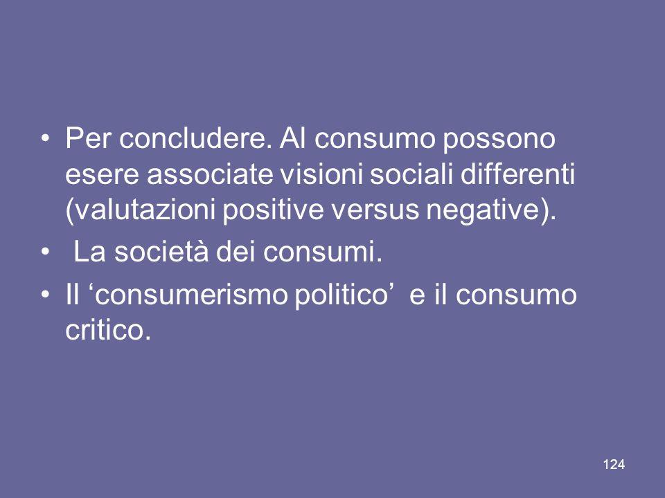Per concludere. Al consumo possono esere associate visioni sociali differenti (valutazioni positive versus negative).