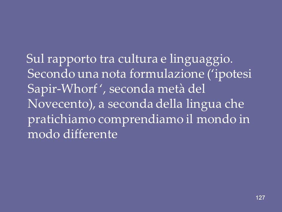 Sul rapporto tra cultura e linguaggio
