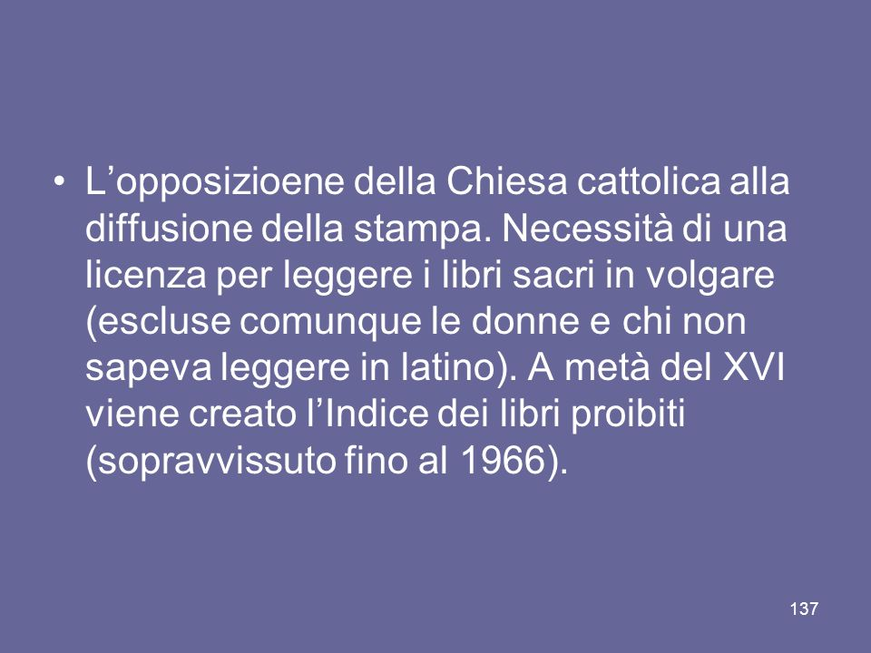 L'opposizioene della Chiesa cattolica alla diffusione della stampa