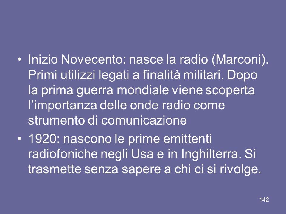 Inizio Novecento: nasce la radio (Marconi)