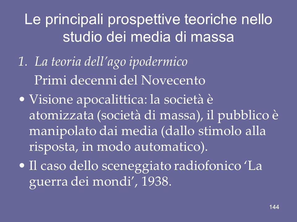 Le principali prospettive teoriche nello studio dei media di massa