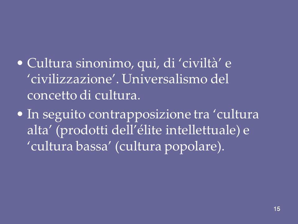 Cultura sinonimo, qui, di 'civiltà' e 'civilizzazione'
