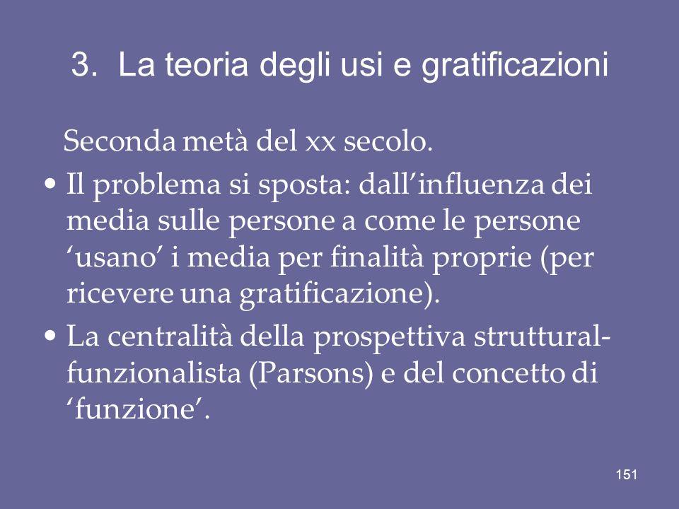 3. La teoria degli usi e gratificazioni