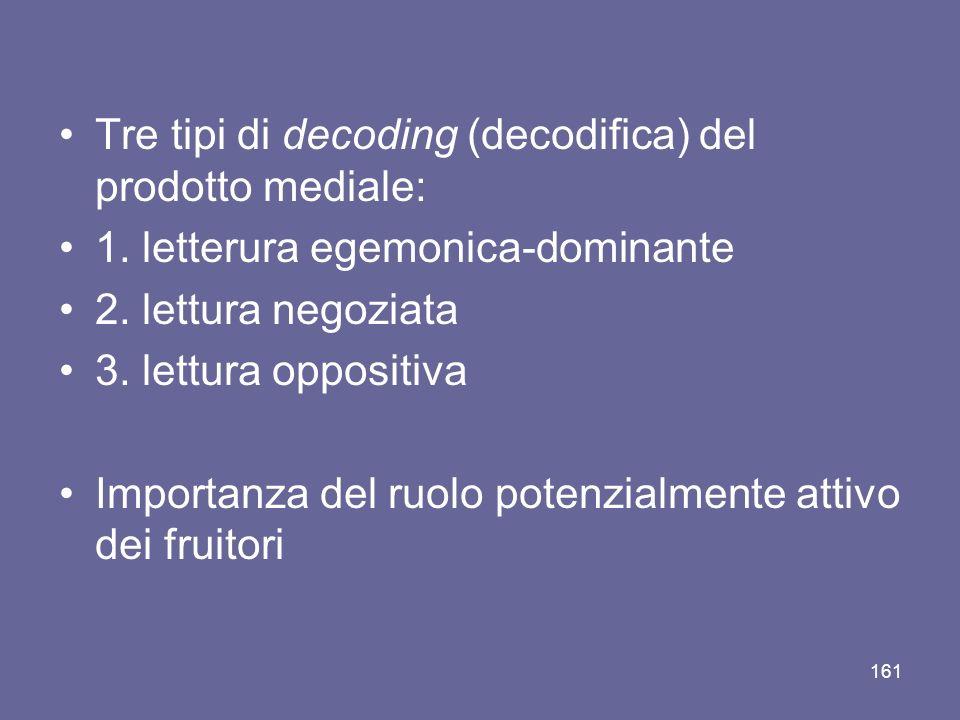 Tre tipi di decoding (decodifica) del prodotto mediale: