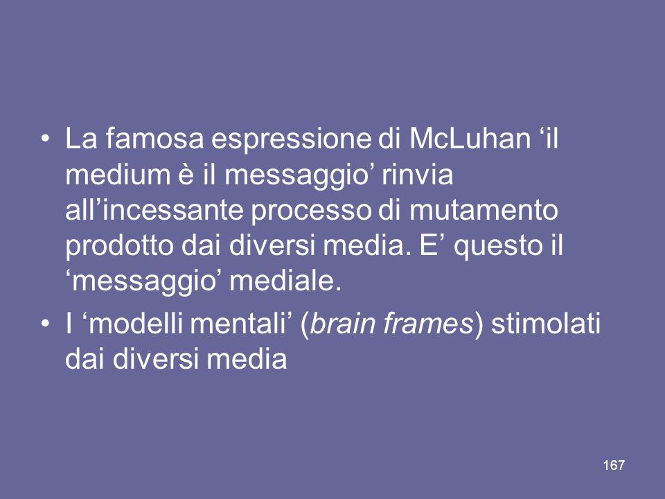 La famosa espressione di McLuhan 'il medium è il messaggio' rinvia all'incessante processo di mutamento prodotto dai diversi media. E' questo il 'messaggio' mediale.
