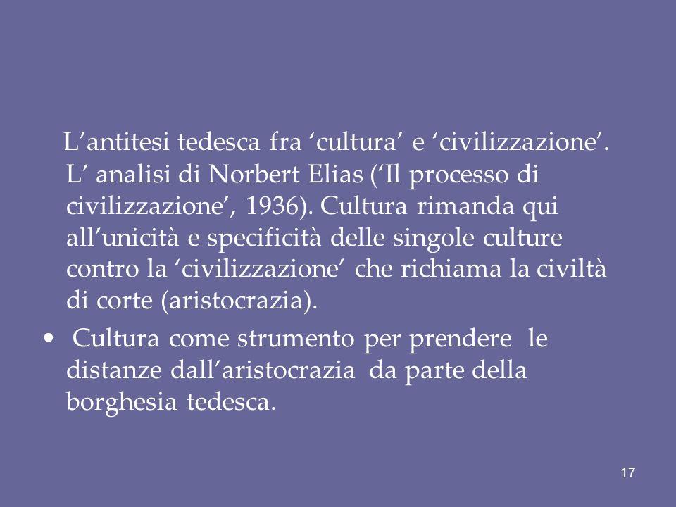 L'antitesi tedesca fra 'cultura' e 'civilizzazione'