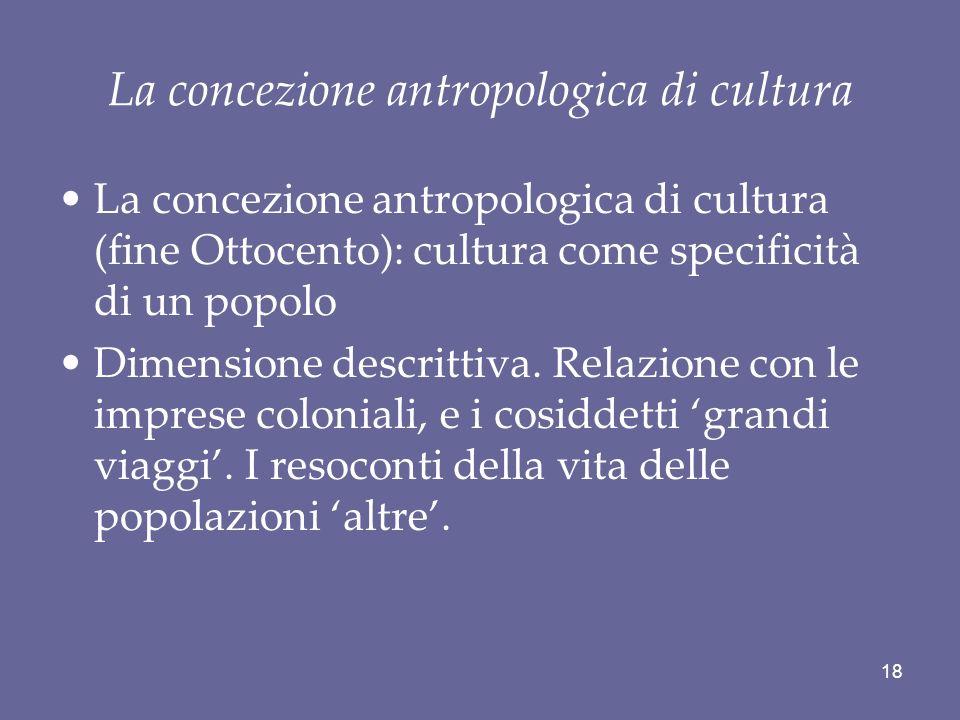 La concezione antropologica di cultura