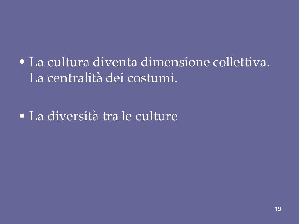 La cultura diventa dimensione collettiva. La centralità dei costumi.