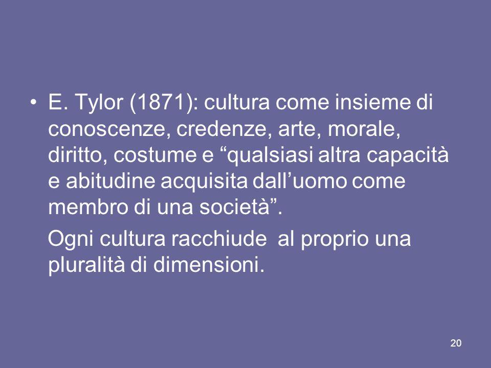 E. Tylor (1871): cultura come insieme di conoscenze, credenze, arte, morale, diritto, costume e qualsiasi altra capacità e abitudine acquisita dall'uomo come membro di una società .