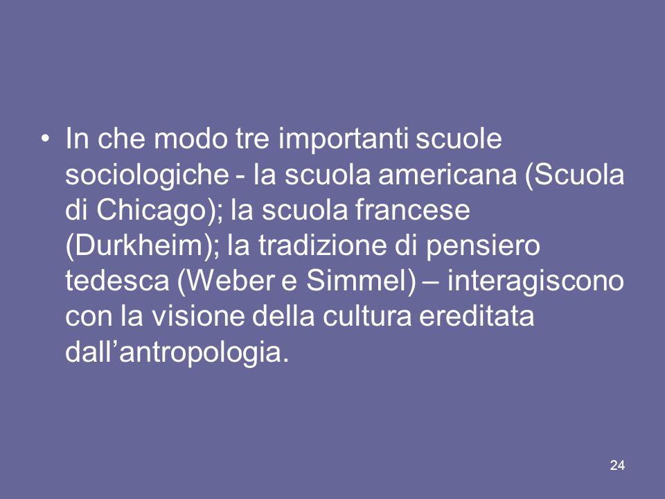 In che modo tre importanti scuole sociologiche - la scuola americana (Scuola di Chicago); la scuola francese (Durkheim); la tradizione di pensiero tedesca (Weber e Simmel) – interagiscono con la visione della cultura ereditata dall'antropologia.