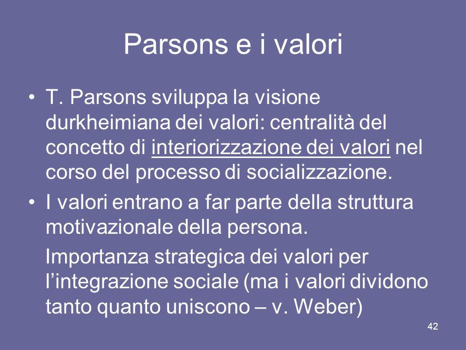 Parsons e i valori