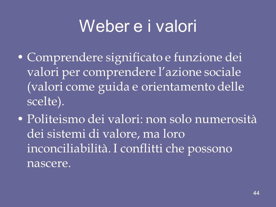 Weber e i valori Comprendere significato e funzione dei valori per comprendere l'azione sociale (valori come guida e orientamento delle scelte).