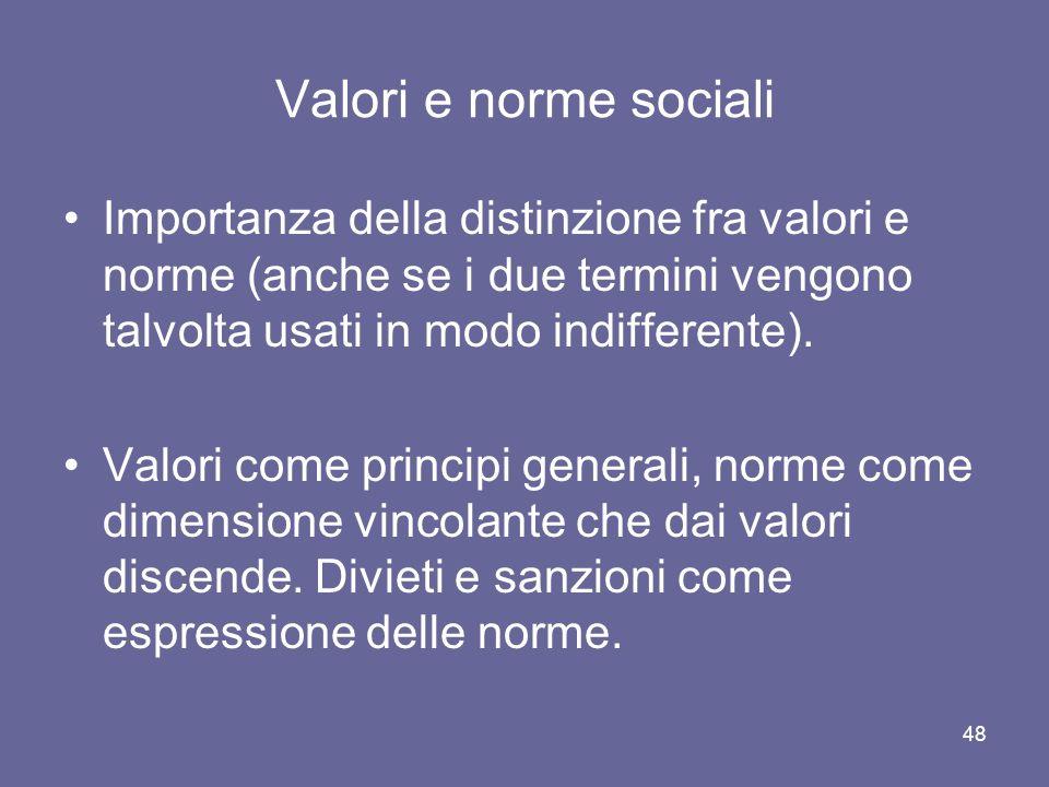 Valori e norme sociali Importanza della distinzione fra valori e norme (anche se i due termini vengono talvolta usati in modo indifferente).