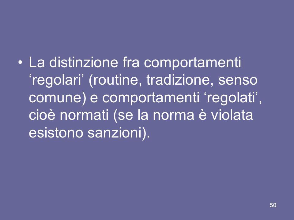 La distinzione fra comportamenti 'regolari' (routine, tradizione, senso comune) e comportamenti 'regolati', cioè normati (se la norma è violata esistono sanzioni).