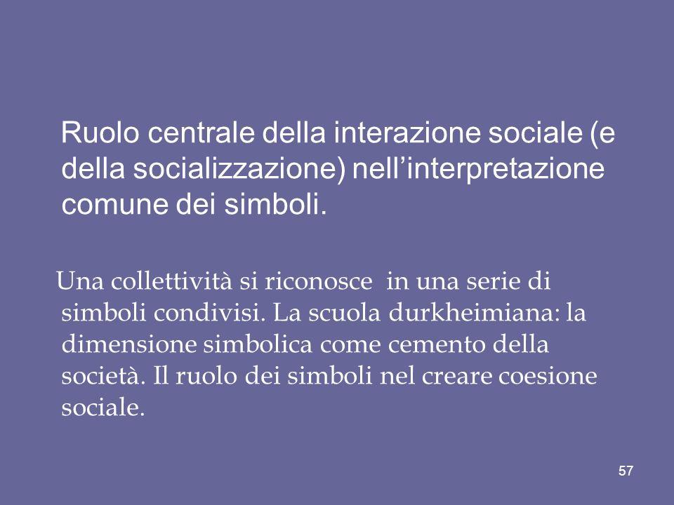 Ruolo centrale della interazione sociale (e della socializzazione) nell'interpretazione comune dei simboli.
