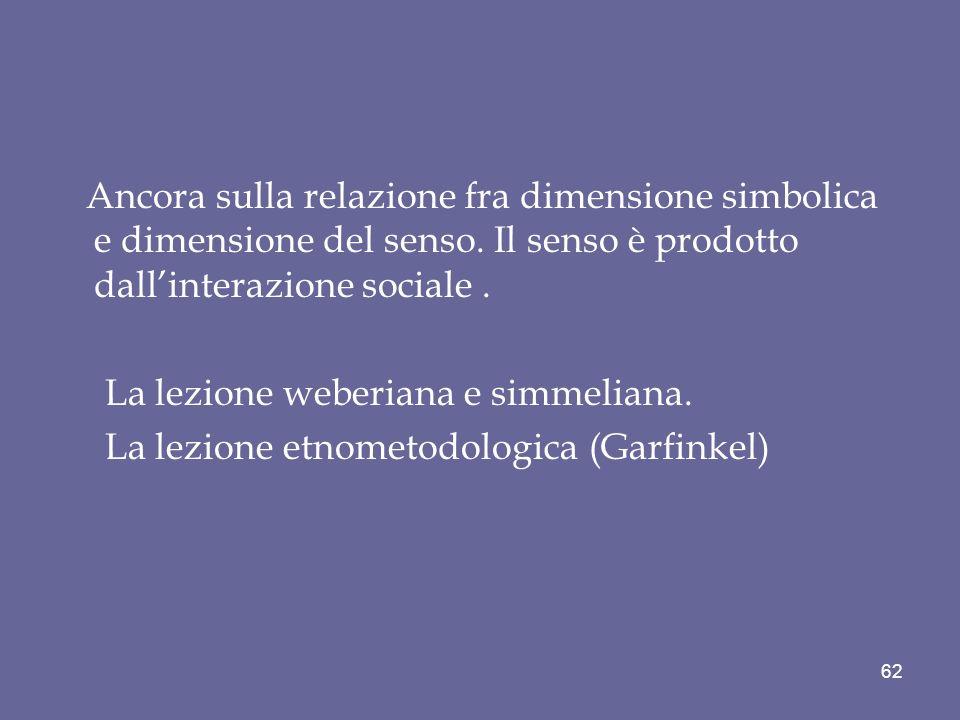 Ancora sulla relazione fra dimensione simbolica e dimensione del senso
