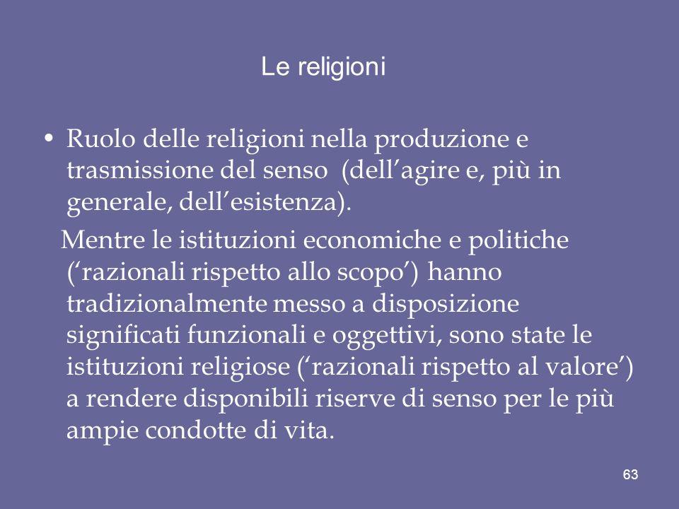 Le religioni Ruolo delle religioni nella produzione e trasmissione del senso (dell'agire e, più in generale, dell'esistenza).