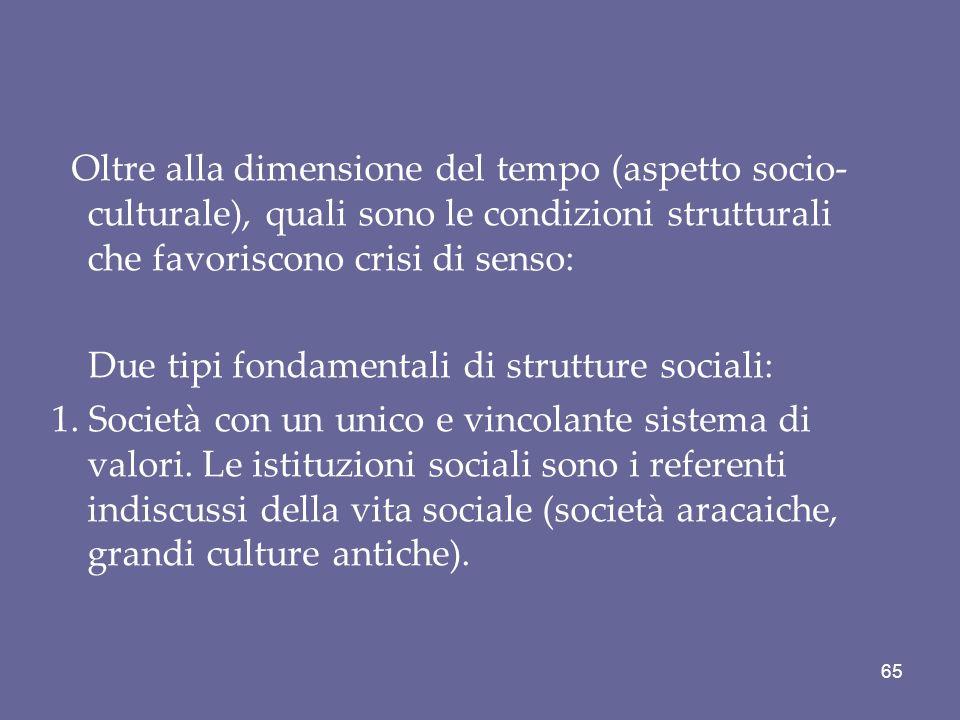 Oltre alla dimensione del tempo (aspetto socio-culturale), quali sono le condizioni strutturali che favoriscono crisi di senso: