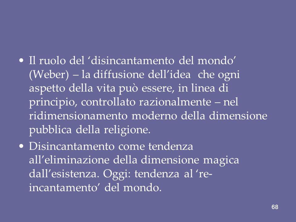 Il ruolo del 'disincantamento del mondo' (Weber) – la diffusione dell'idea che ogni aspetto della vita può essere, in linea di principio, controllato razionalmente – nel ridimensionamento moderno della dimensione pubblica della religione.