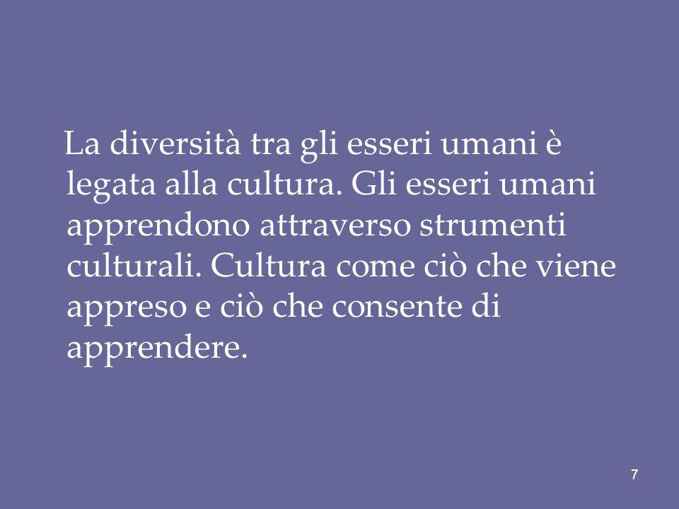 La diversità tra gli esseri umani è legata alla cultura