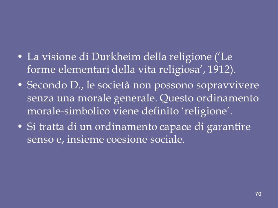 La visione di Durkheim della religione ('Le forme elementari della vita religiosa', 1912).