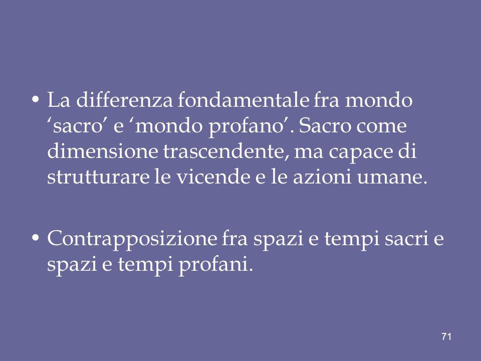 La differenza fondamentale fra mondo 'sacro' e 'mondo profano'