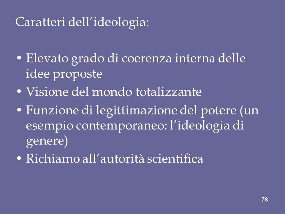 Caratteri dell'ideologia: