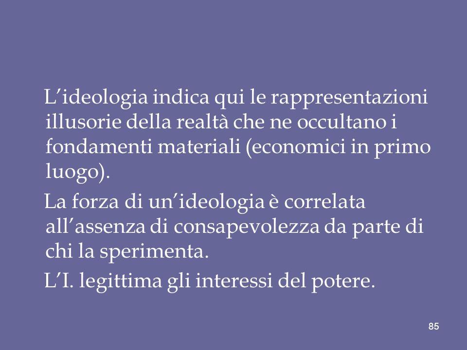 L'ideologia indica qui le rappresentazioni illusorie della realtà che ne occultano i fondamenti materiali (economici in primo luogo).