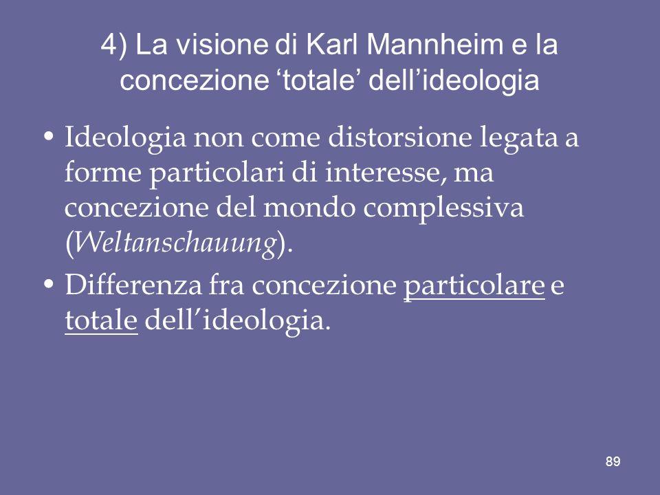 4) La visione di Karl Mannheim e la concezione 'totale' dell'ideologia