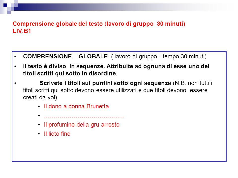 Comprensione globale del testo (lavoro di gruppo 30 minuti) LIV.B1
