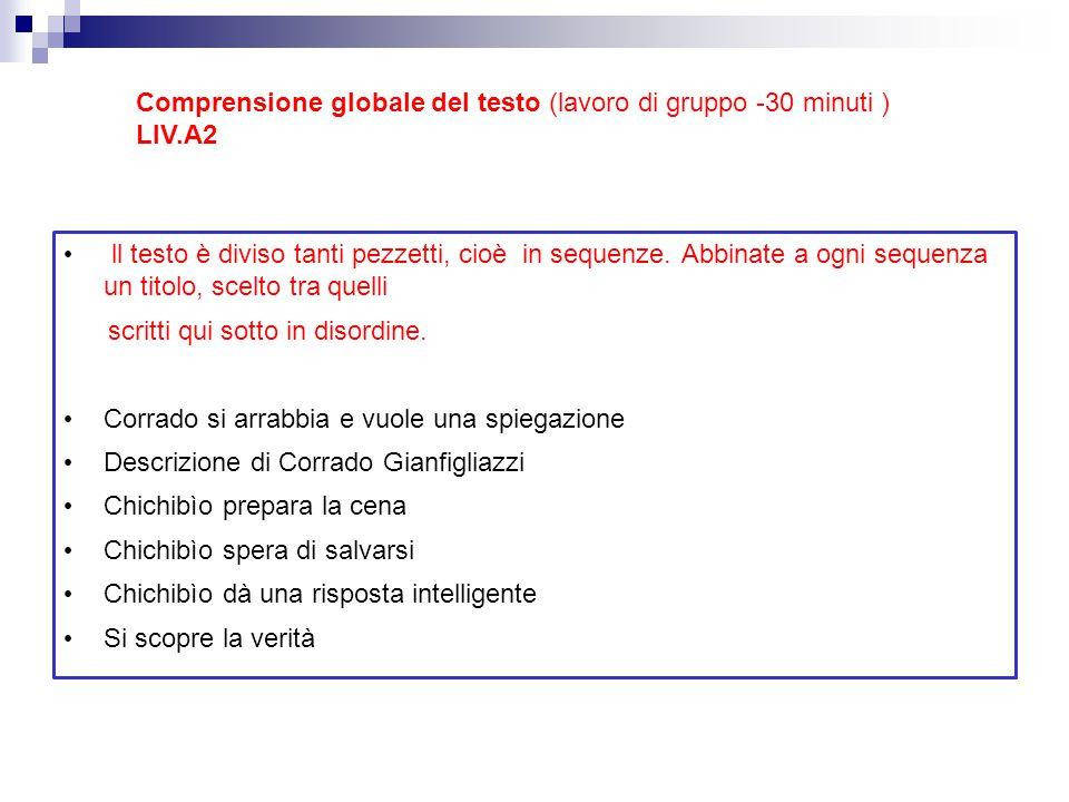 Comprensione globale del testo (lavoro di gruppo -30 minuti )