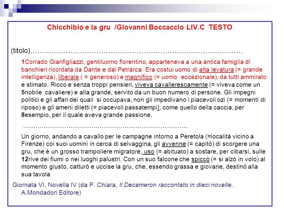 Chicchibio e la gru /Giovanni Boccaccio LIV.C TESTO