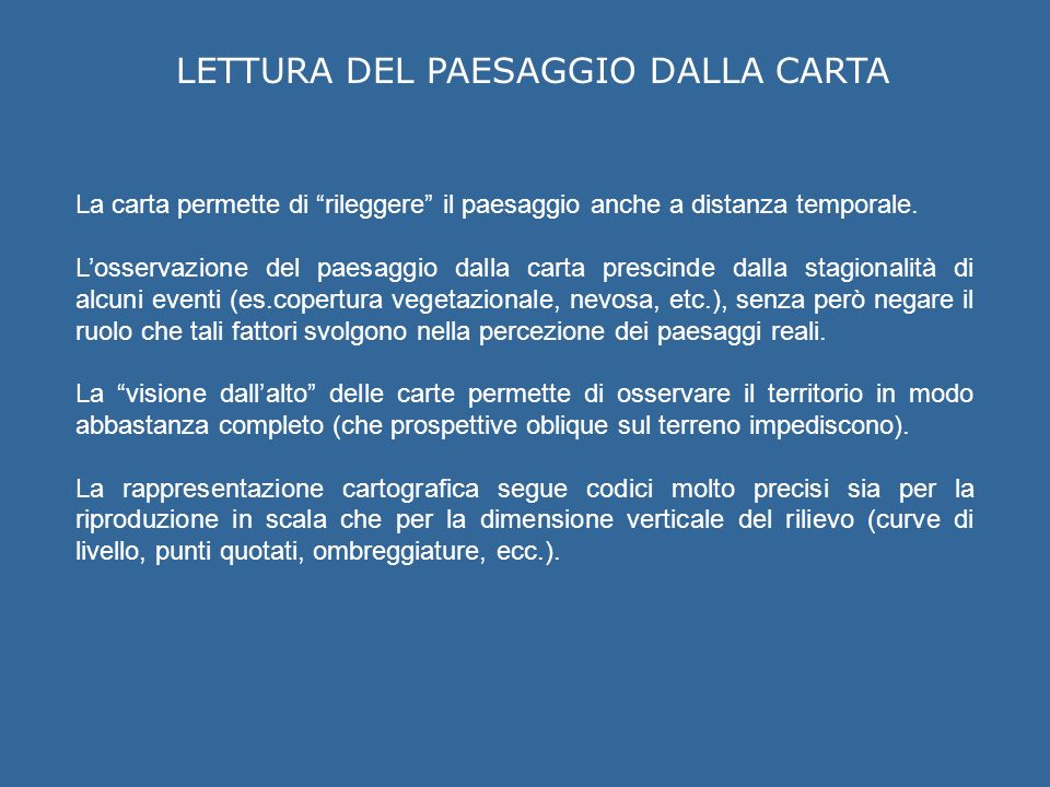 LETTURA DEL PAESAGGIO DALLA CARTA