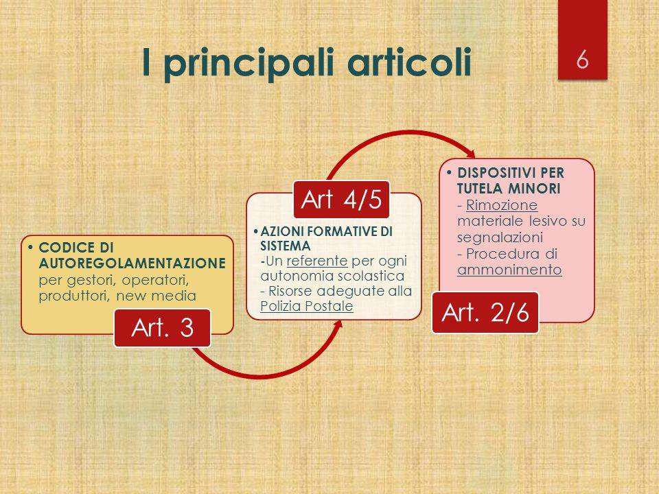 I principali articoli Art. 3. CODICE DI AUTOREGOLAMENTAZIONE per gestori, operatori, produttori, new media.
