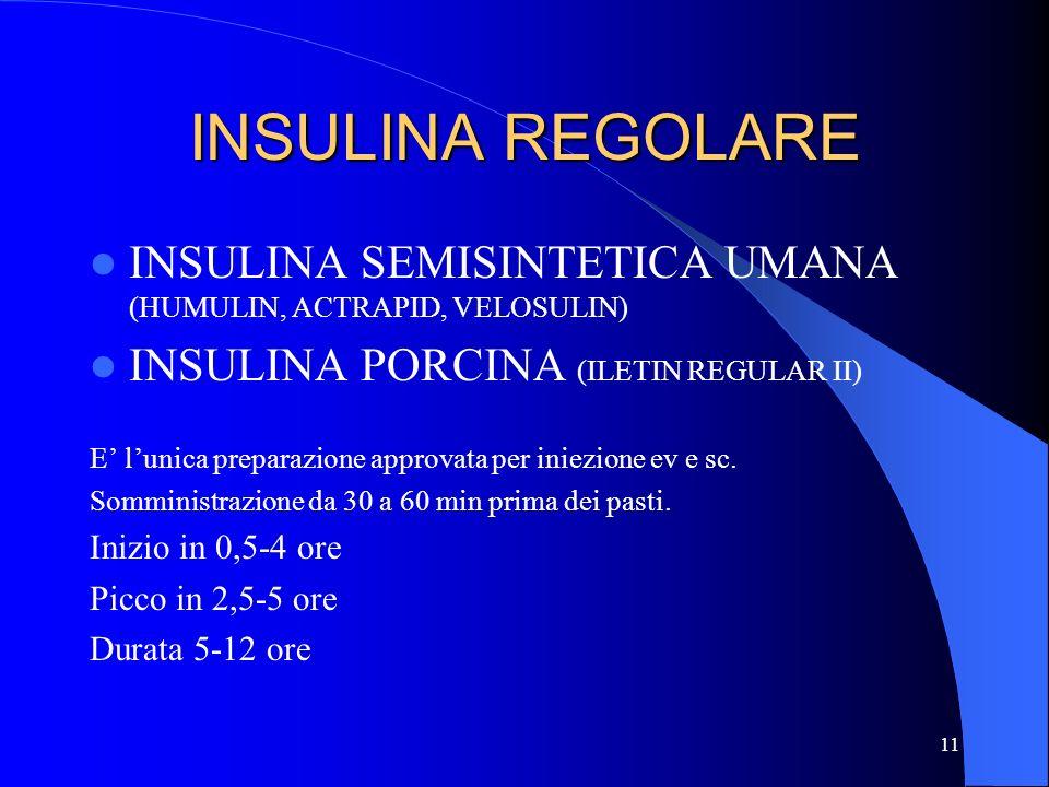 INSULINA REGOLARE INSULINA SEMISINTETICA UMANA (HUMULIN, ACTRAPID, VELOSULIN) INSULINA PORCINA (ILETIN REGULAR II)