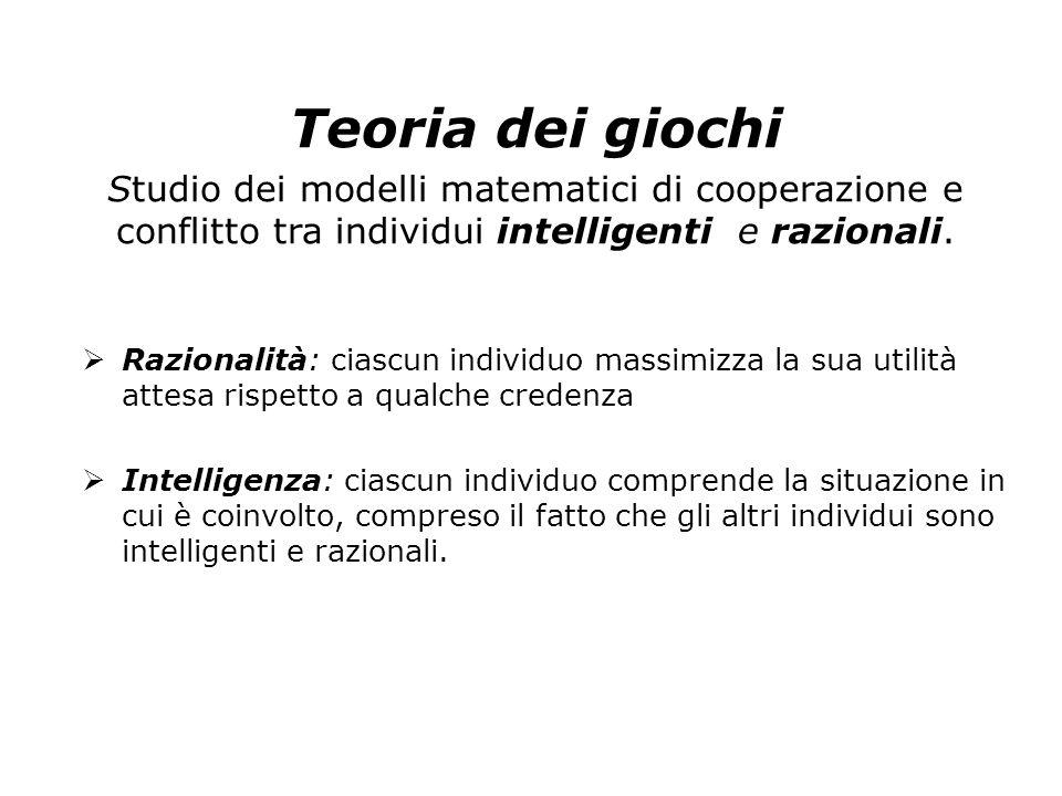 Teoria dei giochi Studio dei modelli matematici di cooperazione e conflitto tra individui intelligenti e razionali.