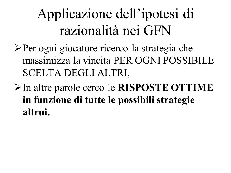 Applicazione dell'ipotesi di razionalità nei GFN