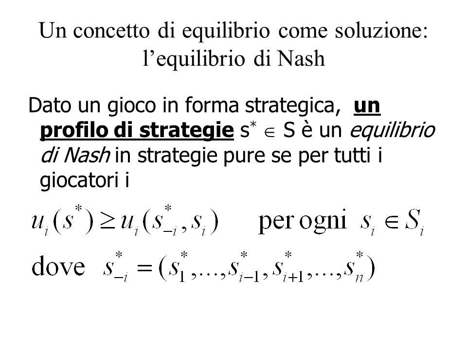 Un concetto di equilibrio come soluzione: l'equilibrio di Nash