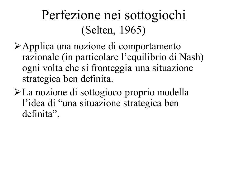 Perfezione nei sottogiochi (Selten, 1965)