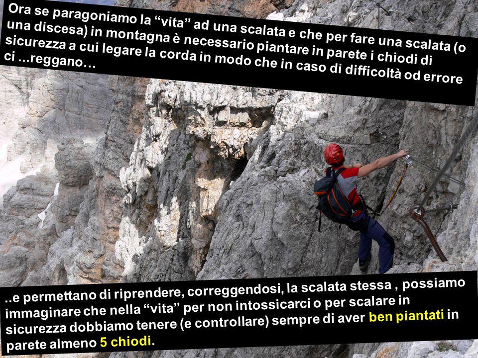 Ora se paragoniamo la vita ad una scalata e che per fare una scalata (o una discesa) in montagna è necessario piantare in parete i chiodi di sicurezza a cui legare la corda in modo che in caso di difficoltà od errore ci ...reggano…