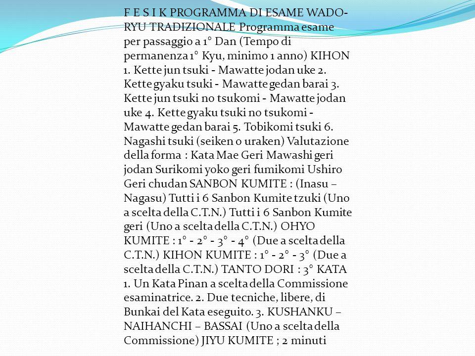 F E S I K PROGRAMMA DI ESAME WADO-RYU TRADIZIONALE Programma esame per passaggio a 1° Dan (Tempo di permanenza 1° Kyu, minimo 1 anno) KIHON 1.