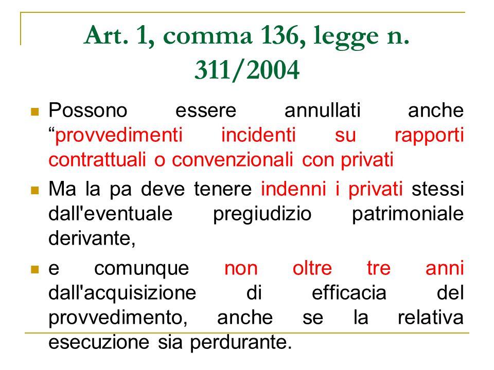 Art. 1, comma 136, legge n. 311/2004Possono essere annullati anche provvedimenti incidenti su rapporti contrattuali o convenzionali con privati.